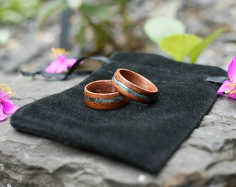 Mahogany Bentwood Ring w/ Abalone Inlay