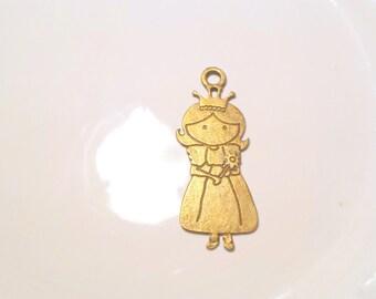 Doll Charm, Pendant Charm, Princess pendant, Bronze tone charm, Bronze tone pendant, Girl charm, Girl pendant, Princess Pendant