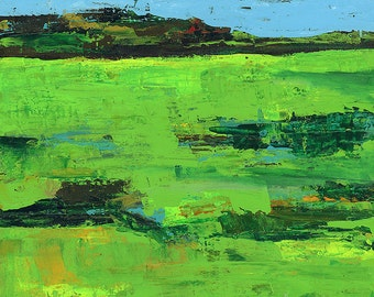 Bright green, Sunny Grassland PRINT