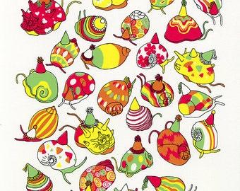 "Party Snails, Silk Screen Print (11 1/4""x13 1/8"")"