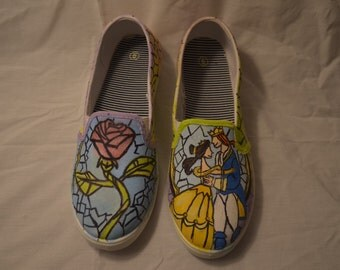 Disney's Beauty and the Beast Inspired Hand Painted TOM's Shoes