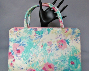 "SHABBY CHIC, Vintage 1960's ""Margaret Smith"" Purse, Floral CHINTZ Summer Tote Bag"