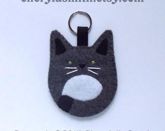 Felt Cat Keyring - Kitty Cat Key Ring Bag Charm - Cat Lover Key Chain