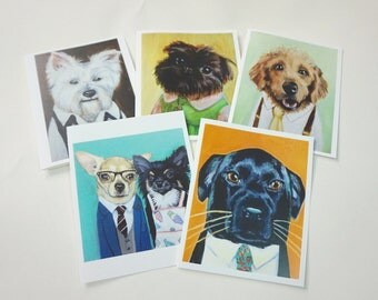 Set of 5 Supah Dog Notecards