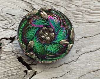 Czech glass button green vitrail 27mm