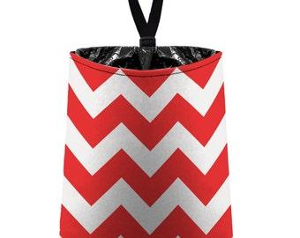 Car Trash Bag // Auto Trash Bag // Car Accessories // Car Litter Bag // Car Garbage Bag - Chevron - Red and White