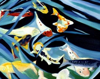 Koi painting Print of original oil painting of Koi fish