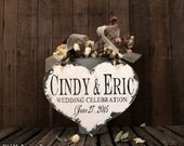 PERSONALIZED NAME HEART Sign, Vintage Wedding Sign, Heart Shaped Wedding Sign, Ring Bearer Sign
