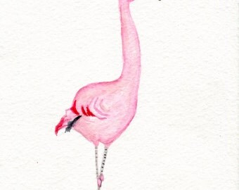 Flamingo painting, Flamingo Watercolors Paintings Original, 5 x 7 bird art, original watercolor of pink flamingo, small watercolor painting