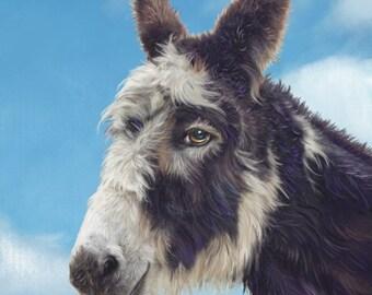 Donkey art print Giclee Country Home Decor farm animal artwork rescue donkey digital pastel Boris