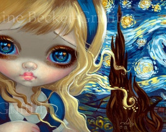 Alice in the Starry Night art print by Jasmine Becket-Griffith BIG 8x16 wonderland vincent van gogh impressionism impressionist