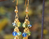 Blue and green glass and crystal dangle earrings