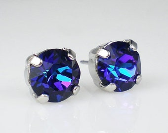 Violet Blue Rhinestone Stud Earrings Swarovski Heliotrope Wedding Jewelry Flower Girl Earrings Bridesmaid Earrings MADE TO ORDER