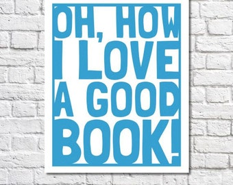 Reading Poster I Love Books Typographic Print Library Wall Art Bibliophile Classroom Decor Book Lover Reading Quote Book Nook Reading Gift