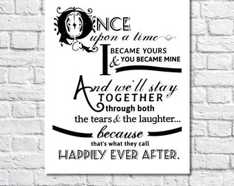 Happily Ever After Quote Print For Newlyweds Just Married Couple Decor Love Poem Fairy Tale Art Wedding Quote First Anniversary Gift For Her