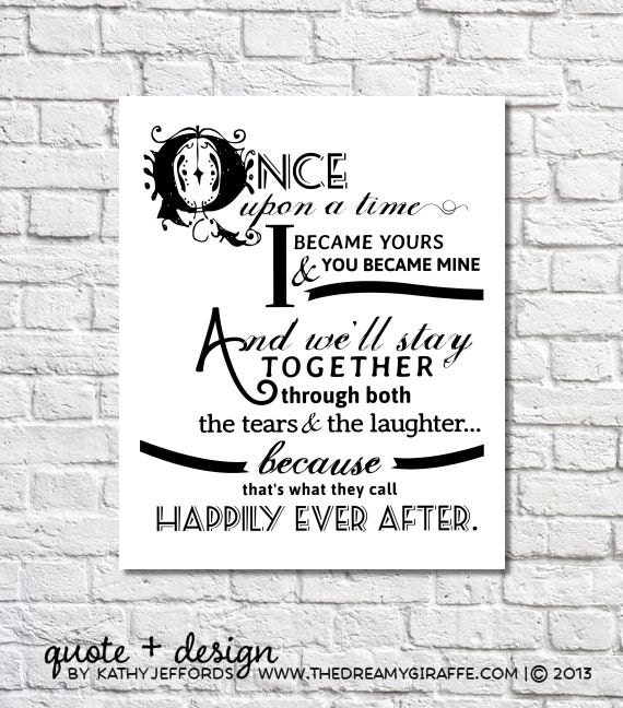 New Married Couple Wishes Quotes: Happily Ever After Quote Print For Newlyweds Just Married