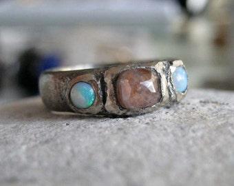 Oxidized White gold ring rose cut diamond rustic band opal -Oxidized grunge