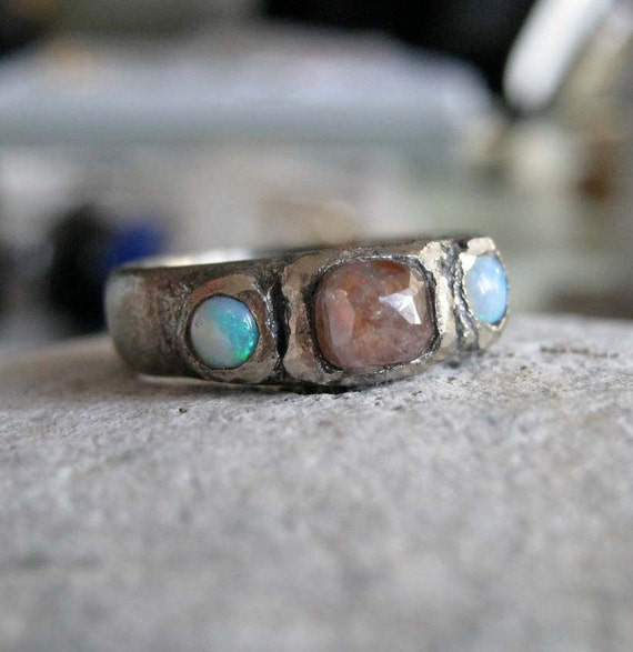 Oxidized White gold ring rose cut diamond rustic band opal -Oxidized grunge