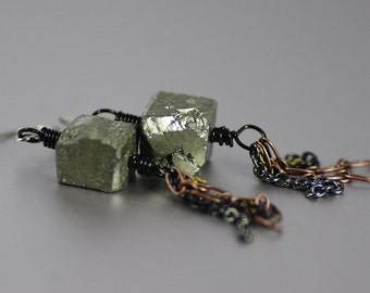 Earrings Featuring Rough Pyrite Fool's Gold Cubes and Mixed Metal Brass Black Copper Gunmetal Chain Tassels