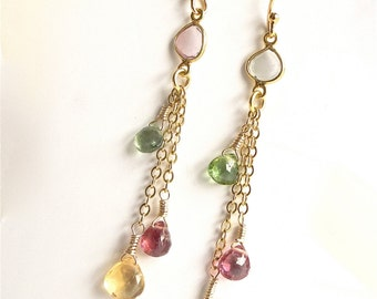 Citrine earrings. Tourmaline earrings, dangle earrings. Gold filled chain. Drop earrings.