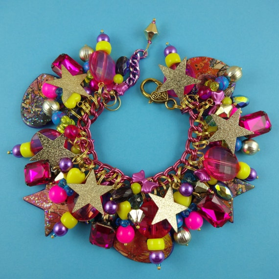 80s Popstar Chunky Charm Bracelet - hot pink, yellow and purple - gold stars, retro, nostalgic, eighties child, 1980s, Fairy-Kei, colourful