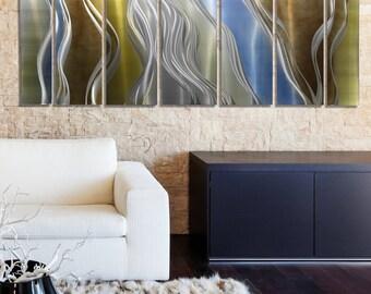 NEW! Gold, Blue, Silver & Brown Abstract Metal Art - Modern Metal Wall Sculpture - Handpainted Home Decor - Accent - Cascade by Jon Allen