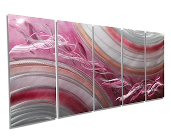 Pink & Silver Modern Metal Painting - Abstract Metal Wall Art - Large Wall Decor - Contemporary Home Decor - Coral Blush by Jon Allen
