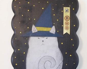 Halloween Cat Art , Original Cat Painting , Halloween Cat Witch,  Halloween Wall Decoration , Cat Wall Art , Mixed Media Collage Art