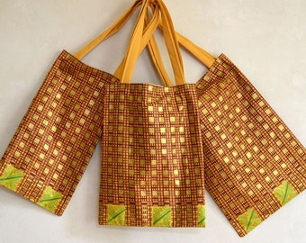 Light Tote African Print Fabric Gold Brick Red Green & Yellow Long Rectangular Bag