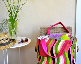 Swirly Striped Tote Bag / Lined Summer Tote in Pink Green Black / Large Shopping Bag