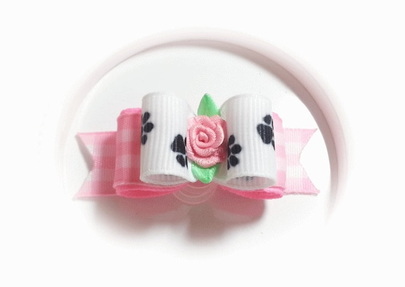 Paws Dog Bows with Pink Gingham, Girl Dog Bow with Flower