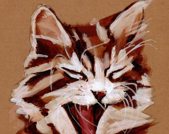 "Cat Won't Stop Yawning 5"" x 7"" Print"