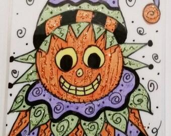 Halloween Folk Art Magnet Pumpkin on ATC laminated HAB with glitter