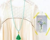 Green Tassel Turquoise Strand Necklace