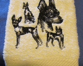 Sketch of 4 Rat Terrier New style Design Machine Embroidered on Ivory Bath Hand Towel