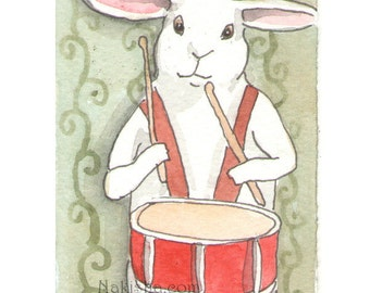 Original Watercolor Rabbit Painting - Drummer Bunny - ACEO