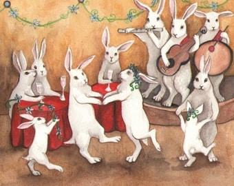 Animal Art- Fine Art Print - Rabbit Art - Dancing Rabbits