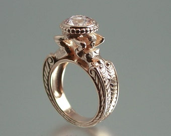 Caryatid 14K rose gold ring with Morganite