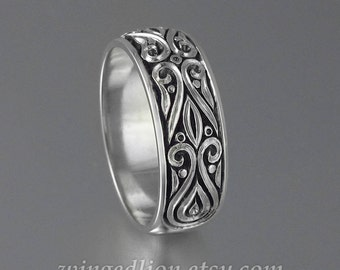 Mens Wedding Band PRINCE CHARMING sterling silver unisex band