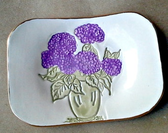 Ceramic Trinket Dish Soap Dish Hydrangea edged in gold