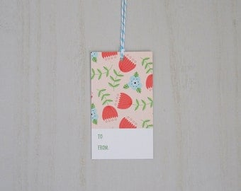 Peach Flower Gift Tags