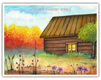 Place of Serenity - Original Watercolor Landscape Painting of Cottage Flowers Autumn Woods FREE shipping