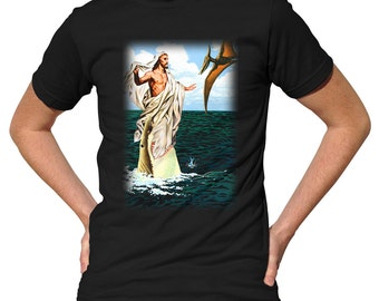 Jesus Jumps the Shark T-Shirt - Funny Jesus TShirt - Mens and Ladies Sizes Small-3X