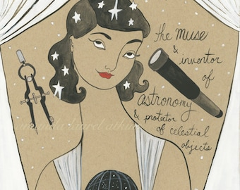 Ourania Greek Muse of Astronomy print by Amanda Laurel Atkins