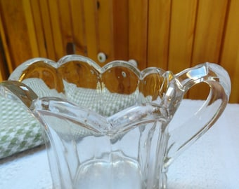 Small Glass Creamer or Pitcher Thick Clear Ribbed Glass pitcher from the 1950s