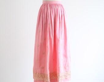 Vintage Pink Silk Skirt