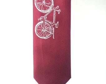 SALE - Silkscreen Print Necktie - Vintage Bike - Burgundy Red Tie