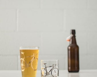 GOLD and platinum BIKE Pint Rocks GLASSES - screen printed bicycle Precious Metals glassware
