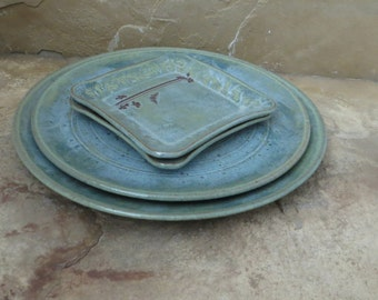 Serving Platter Plate Set of 4 - Handmade Stoneware Ceramic Pottery - Desert Moss Green - Ginkgo and Cicada