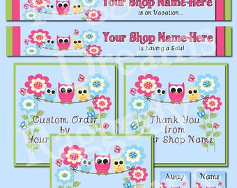 Etsy Banner Set - Premade Etsy Banner  Set - SHOP ICON - Shop Profile Photo - Boutique Owls on Clothesline Raggedy Dreams